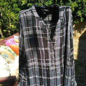 Lane Bryant Black and White Plaid Popover Blouse